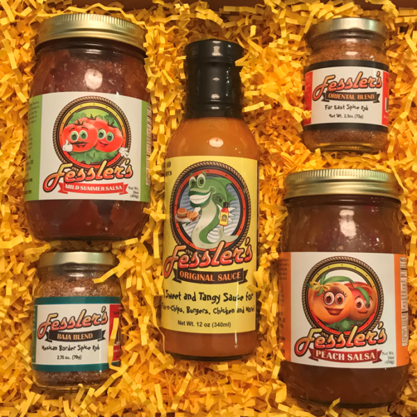Fessler's 5 item Gift Box, Mild and Peach Salsa, Mustard Sauce, Baja and Oriental Spice Rub
