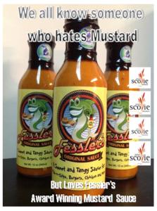 Four Time Scovie Winner, Winner Fish Dinner-Fessler's great tasting Mustard Sauce for an award winning fish dinner.